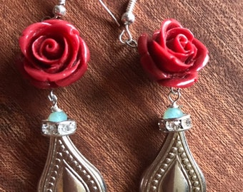 Red Rose Teardrop earrings