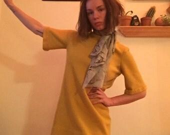 Petite 60's Yellow Wool Dress