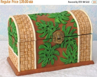 CLEARANCE Handpainted Treasure Chest/Jewelry Box, Ceramic, Leaves and Wicker