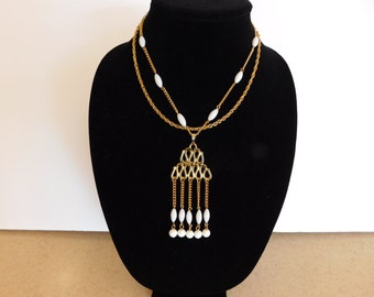 Unusual White and Gold Tone Ethnic Necklace - Great Desigan and Great Look