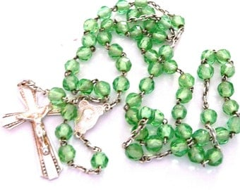 Small Vintage French Green Glass and Silver Rosary