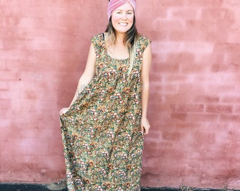 Crescent Moon Maxi in cinnamon handprinted cotton voile - ready to ship