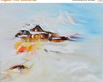 70%OFF ORIGINAL Oil Painting Cottage in the snow painting modern painting  Wild Winter Palette Knife Textured  ART by Marchella