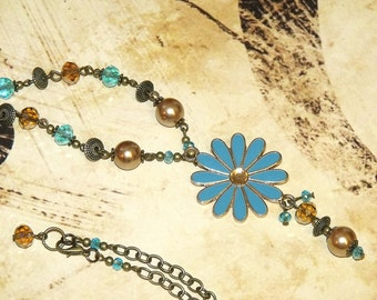 Turquoise Enamel Flower Pendant with Amber Beads Bohemian Necklace Free Spirit Hippie Boho Indie Jewelry
