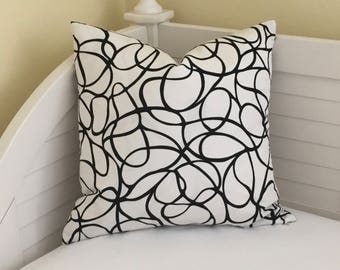 Kravet Neverend in Black and White Designer Pillow Cover - Square, Lumbar, Euro and Body Pillow Cover