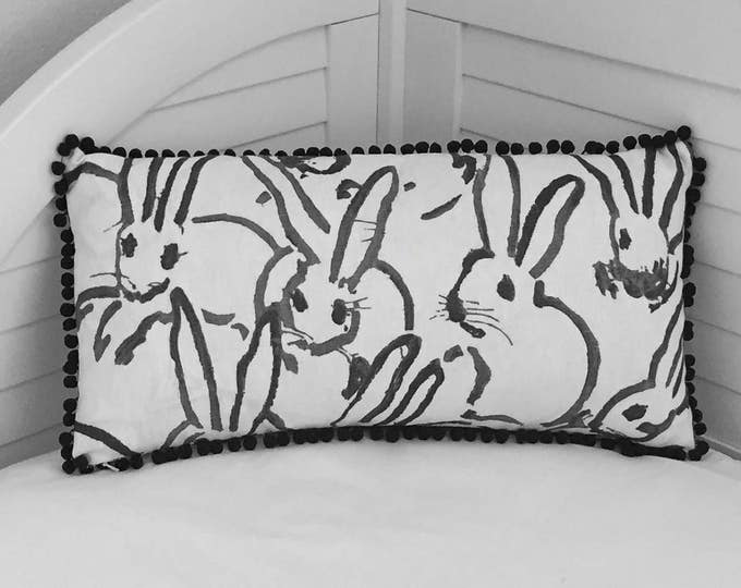Groundworks Bunny Hutch in Black on Both Sides Designer Lumbar Pillow Cover with Small Pom Pom Trim