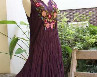 Sleeveless Bohemian Embroidered Tunic - Dark Purple