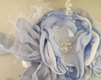 January joy flower headband ruffle bow cozette couture