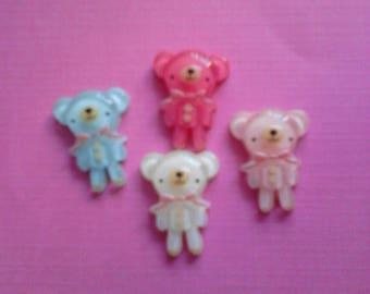 kawaii mini bear with bowtie cabochon decoden deco diy charms   4 pcs