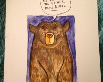 Hairy Bear / Sweary Bear -- One Angry Grizzly print