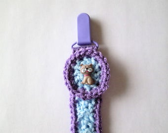 Pacifier holder, binki holder, hand crocheted, dog, light blue and purple