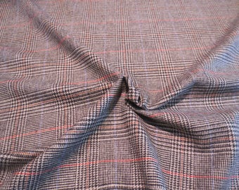 Classic Black and Beige with Red Glen Plaid Wool Blend Suiting Fabric--By the Yard
