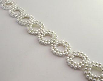 Elegant White Pearl Circle Motif Beaded Trim--By the Yard