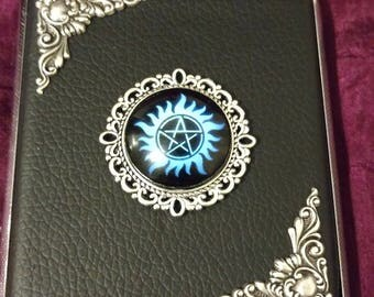 Blue Pentagram with silver edging Faux Leather cigarette case / wallet / card holder