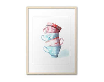 watercolor painting print / teacups tower / digital print / art illustration / teacups tower / teacup collection / pink blue red /  HM115