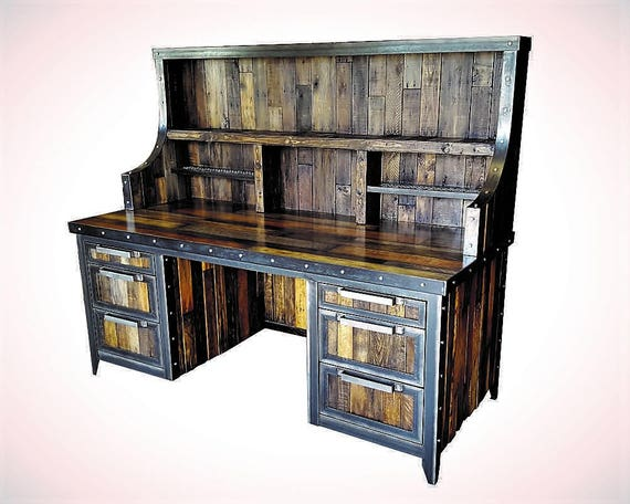 Industrial Desk With Hutch Reclaimed Wood And Steel Rustic