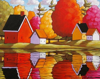Autumn Cottages 11x14 Folk Art Print, River Water Fall Reflections, Scenic Waterside Landscape Colors, Lodge Wall Art Gift by Cathy Horvath