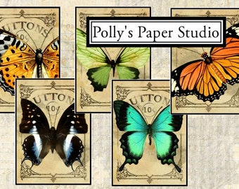 Dollar Download Butterfly Button Cards Collage Digital Images printable download file 9 images