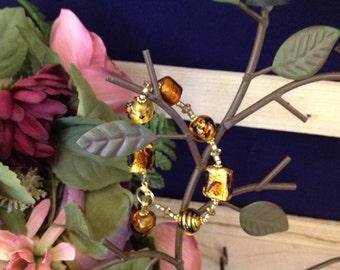 Venetian Glass Gold Bead Bracelet