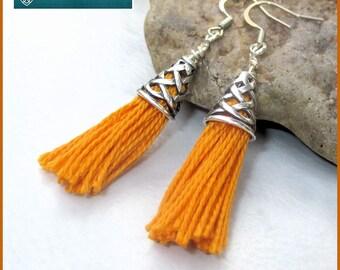 Funky Statement Earrings Cotton Tassel Metal Basketweave Cone Light Orange Yellow Tangerine Cute Colorful Flirty Tassel Jewelry 2-1/4in