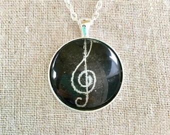 Treble Clef Necklace Music Gift for Singer