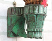 Green Candle Holder Architectural Element Sconce Reclaimed Carved Antique Wood Accent Mediterranean Moroccan Decor Green Coat Hanger