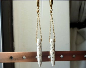 White Howlite Points Chain Earrings, Chandelier, Chain Earrings, Bohemian, Dangle, Bohemian