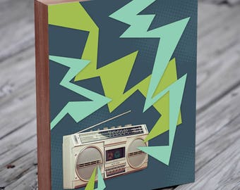 Boombox - Ghetto Blaster - Boom Box- Music Art - Music Art Print - Wood Block Art Print