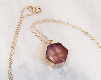Honeycomb Resin Pendant Necklace - in Rose