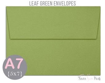 LEAF GREEN A7 Envelopes, 5x7 Invitation Envelopes, 5x7 Envelopes, Green Envelopes, Peel and Press Envelopes, Wedding Envelopes, Greenery