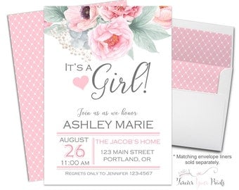 FLORAL It's A Girl Baby Shower Invitations, Girls Baby Shower Invitations, Brunch For Baby Invitation, Floral Baby Shower, Pink and Gray