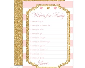 Wishes For Baby Cards - Advice For Baby Cards - Baby Girl Advice Cards - Baby Shower Game - Advice For Parents To Be - Pink and Gold