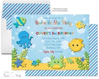 Under The Sea Invitation - Boys Birthday Invitation - Printable Under The Sea Invitation - Under The Sea Party - Nautical Invitation - Ocean
