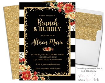 Brunch and Bubbly Invitation - Brunch and Bubbly Invite - Floral Bridal Shower Invite - Bridal Luncheon - Fall Wedding - Autumn Wedding