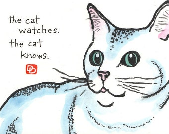 The Cat Always Knows (Handpainted Etegami Original- Cat Art)