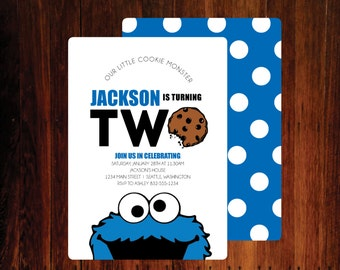 Cookie Monster Birthday Invitations - set of 15