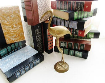 Vintage Brass Crane, Brass Flamingo, Brass Bird, Palm Beach Decor, Hollywood Regency, Brass Stork