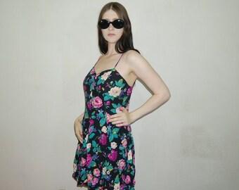 90s grunge floral dress skinny strap baby doll dress size M