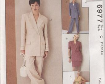 Lined Jacket Pattern Skirt Pants Misses Size 10 - 14 uncut McCalls 6977