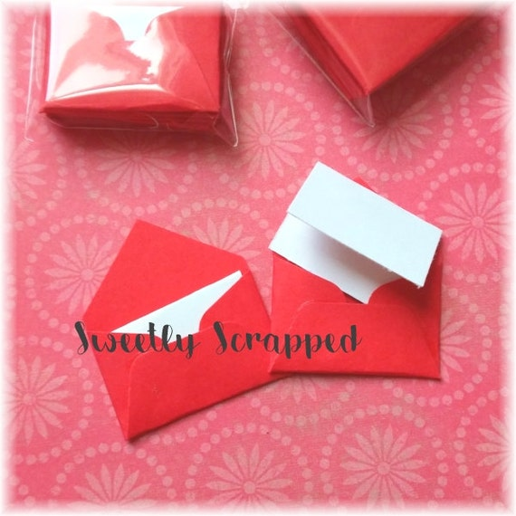 Red Mini Envelopes .... Cards, Stationery, Embellishment, Valentine, Packaging, Note, Notecard, Small