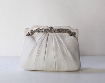 Vintage Judith Leiber Leather Shoulder Bag Purse with Rhinestone Frame // Designer White Cocktail Purse