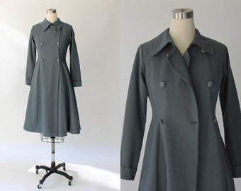 1970s Vintage Flared Princess Coat //  70s Double Breasted Knee Length Tailored Gray-Blue Jacket // XS