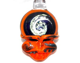 Grateful Dead inspired steal your face stealie pendant, lucky glass, lucky stealie, handblown, hippie, deadhead, dead lot, music festivals