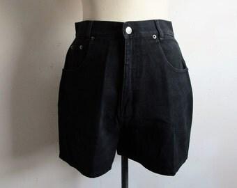 Vintage 1990s Black Shorts LA Jeans Cotton Denim Summer 90s Jean Shorts Medium 9US