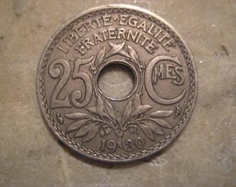1930 France, 25 Centime Coin, Center Hole, Engraver Edmond-Emile Lindauer