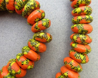 African Orange Marbled Beads