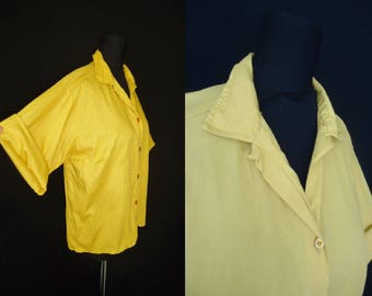 Goldenrod Yellow Cotton Loop Collar Vintage 1950's Women's Rockabilly Blouse Shirt M L