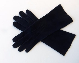 Vintage 60's Women's Gloves Navy Blue Suede Mid Length Size 7