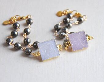 Druzy Bracelet, Druzy, Pyrite Bracelet, Light Purple Druzy, Dark Purple Druzy, Stacking Bracelet, Layering Bracelet, Unique Bracelet, Purple