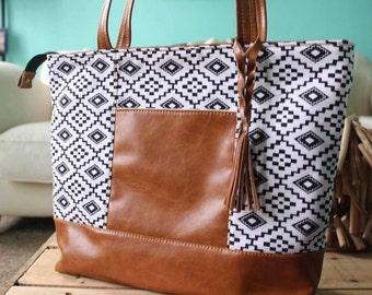 Custom order  Tote bag - on the go bag - travel bag - aztec bag - recyclecd leather bag -